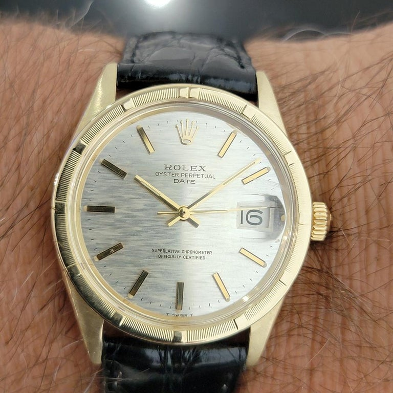 Mens Rolex Oyster Perpetual Date 1501 14k Solid Gold Automatic 1970s RA220 For Sale 9