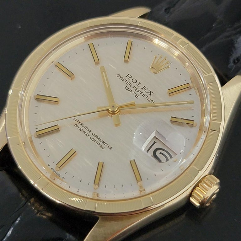 Men's Mens Rolex Oyster Perpetual Date 1501 14k Solid Gold Automatic 1970s RA220 For Sale