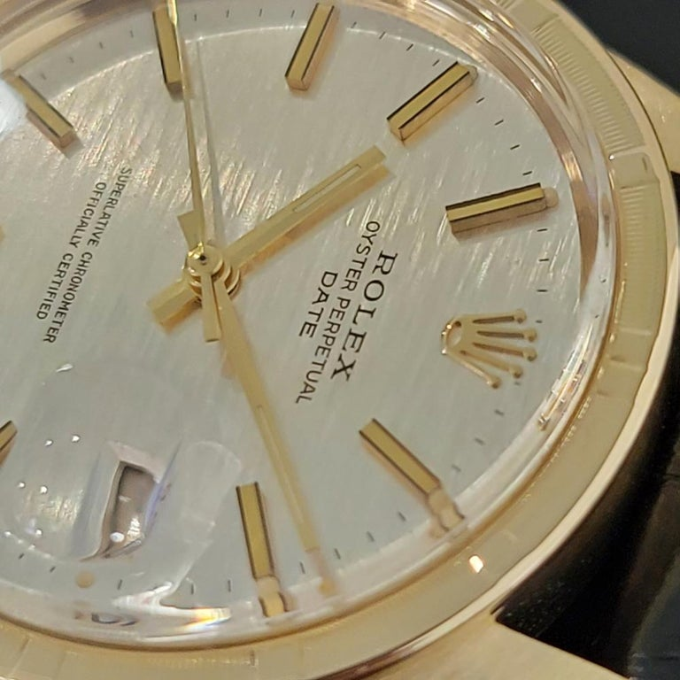Mens Rolex Oyster Perpetual Date 1501 14k Solid Gold Automatic 1970s RA220 For Sale 1