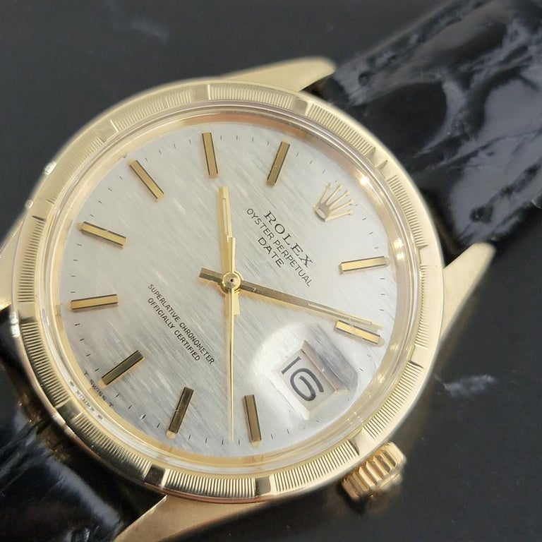 Mens Rolex Oyster Perpetual Date 1501 14k Solid Gold Automatic 1970s RA220 For Sale 2