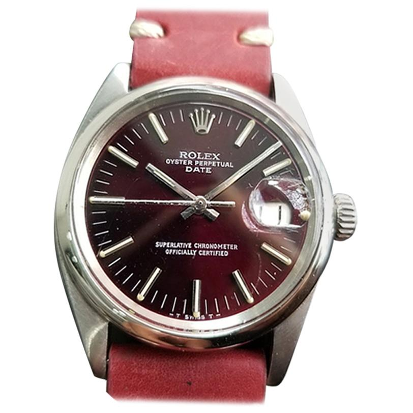 Men's Rolex Oyster Perpetual Date 1501 Automatic c.1960s Vintage RA111RED