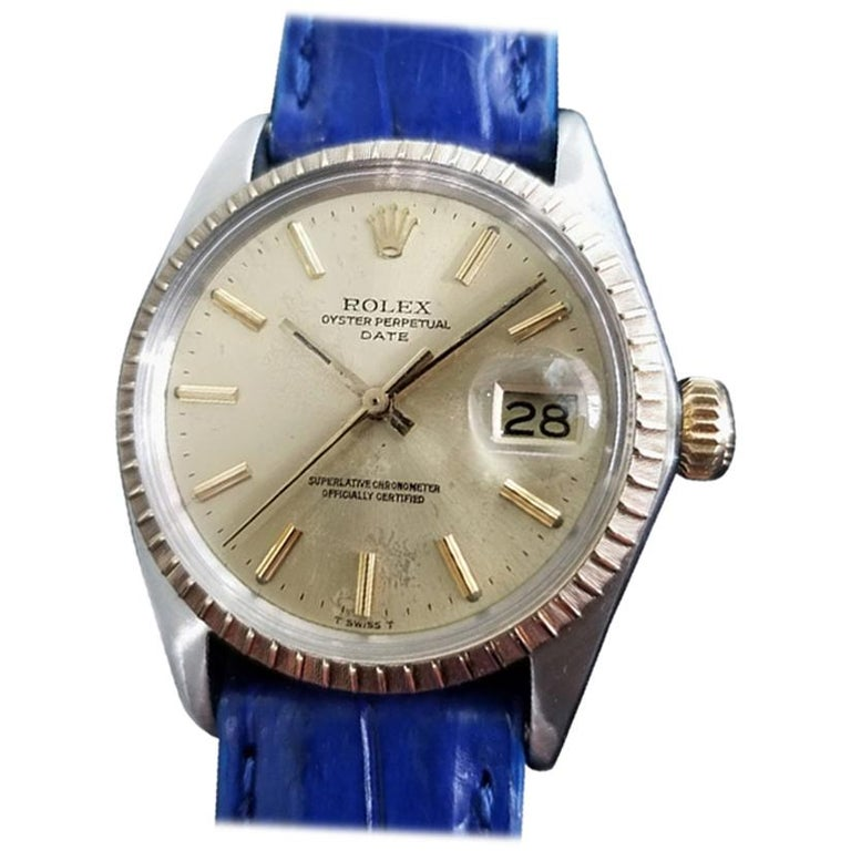 Mens Rolex Oyster Perpetual Date 1505 18K & SS Automatic, c.1970s RA136BLU For Sale