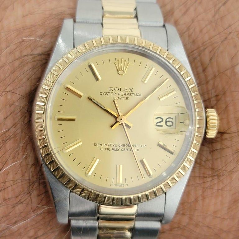 Mens Rolex Oyster Perpetual Date 1505 14k Gold ss Automatic 1970s RA165 For Sale 8