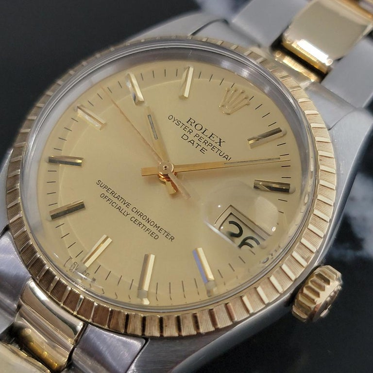 Timeless classic, Men's Rolex Oyster Perpetual Date 1505 14k gold & ss automatic, c.1979, all original. Verified authentic by a master watchmaker. Gorgeous Rolex signed gold dial, applied gold indice hour markers, gilt minute and hour hands,