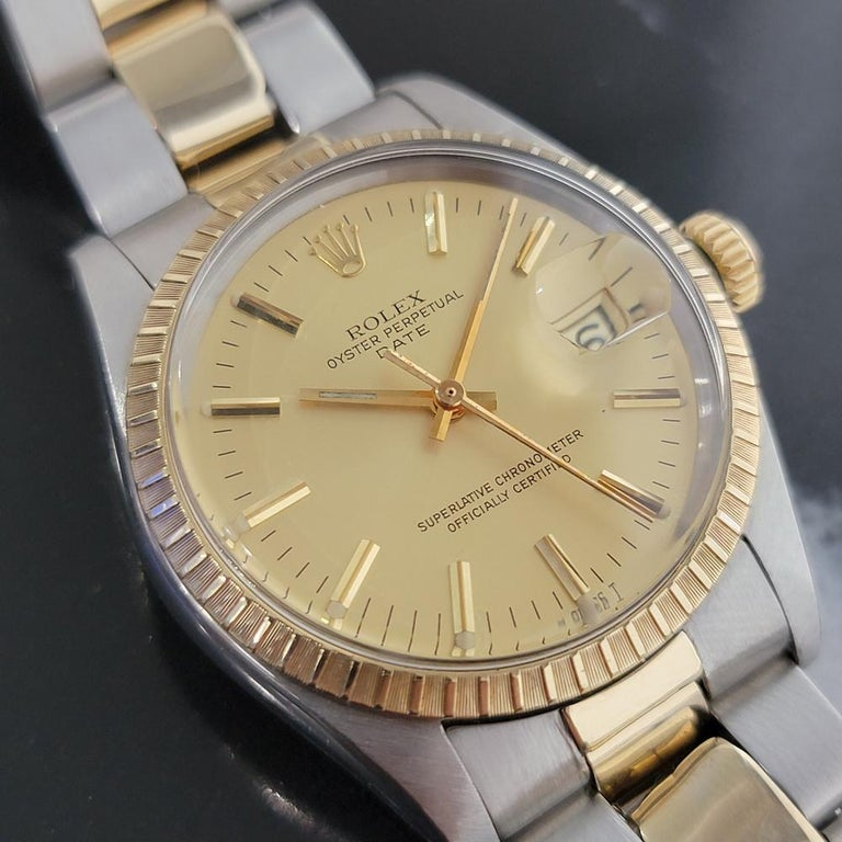 Mens Rolex Oyster Perpetual Date 1505 14k Gold ss Automatic 1970s RA165 In Excellent Condition For Sale In Beverly Hills, CA