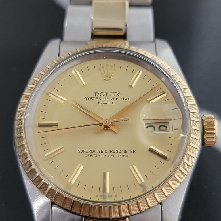 Men's Mens Rolex Oyster Perpetual Date 1505 14k Gold ss Automatic 1970s RA165 For Sale