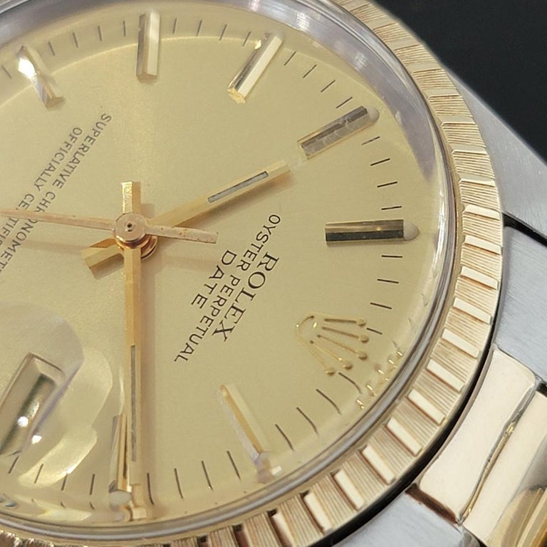 Mens Rolex Oyster Perpetual Date 1505 14k Gold ss Automatic 1970s RA165 For Sale 1