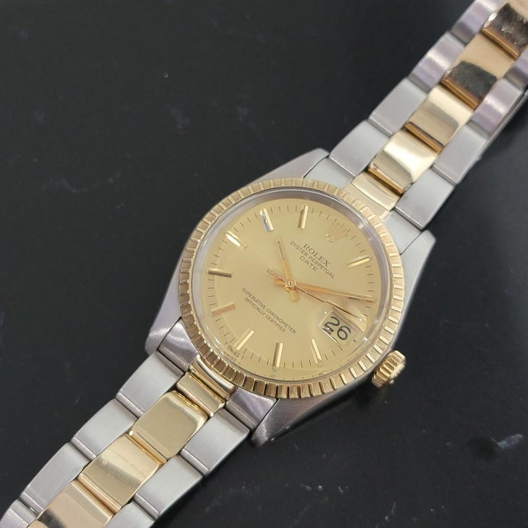 Mens Rolex Oyster Perpetual Date 1505 14k Gold ss Automatic 1970s RA165 For Sale 2