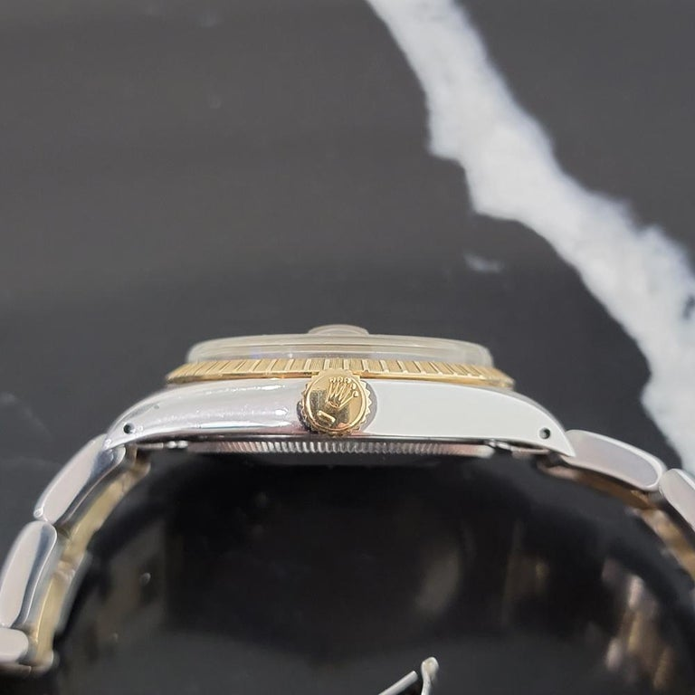 Mens Rolex Oyster Perpetual Date 1505 14k Gold ss Automatic 1970s RA165 For Sale 3