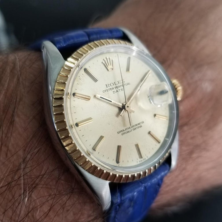 Mens Rolex Oyster Perpetual Date 1505 18K & SS Automatic, c.1970s RA136BLU For Sale 7