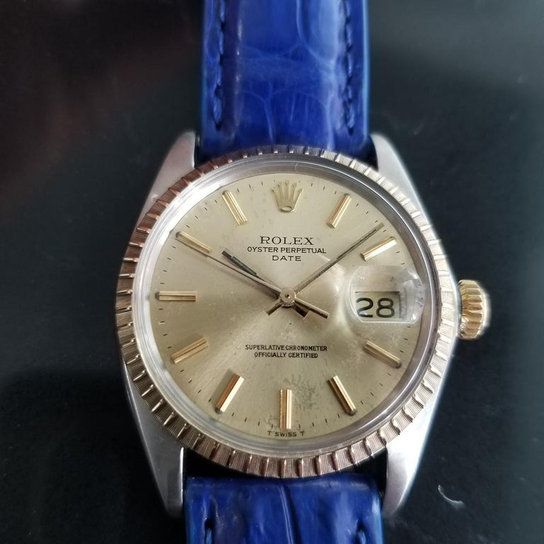 Timeless icon, Men's 18k gold & stainless steel Rolex Oyster Perpetual Date Ref.1505 automatic, c.1970. Verified authentic by a master watchmaker. Gorgeous original, unrestored Rolex-signed gold dial, applied indice hour markers, gilt minute and