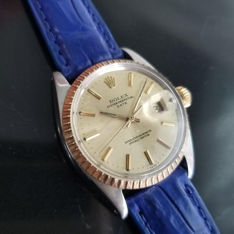 Mens Rolex Oyster Perpetual Date 1505 18K & SS Automatic, c.1970s RA136BLU In Excellent Condition For Sale In Beverly Hills, CA