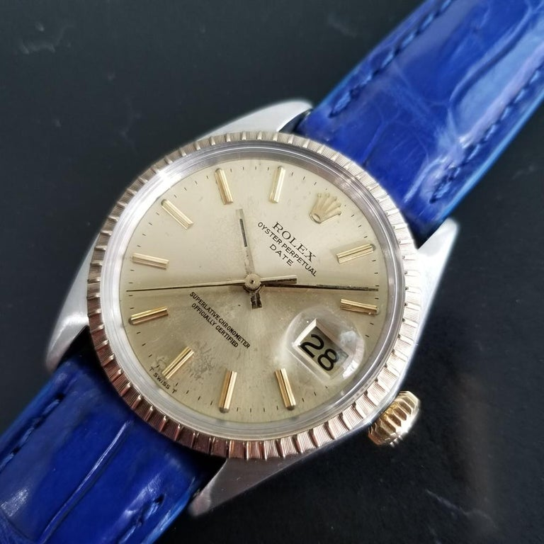 Men's Mens Rolex Oyster Perpetual Date 1505 18K & SS Automatic, c.1970s RA136BLU For Sale