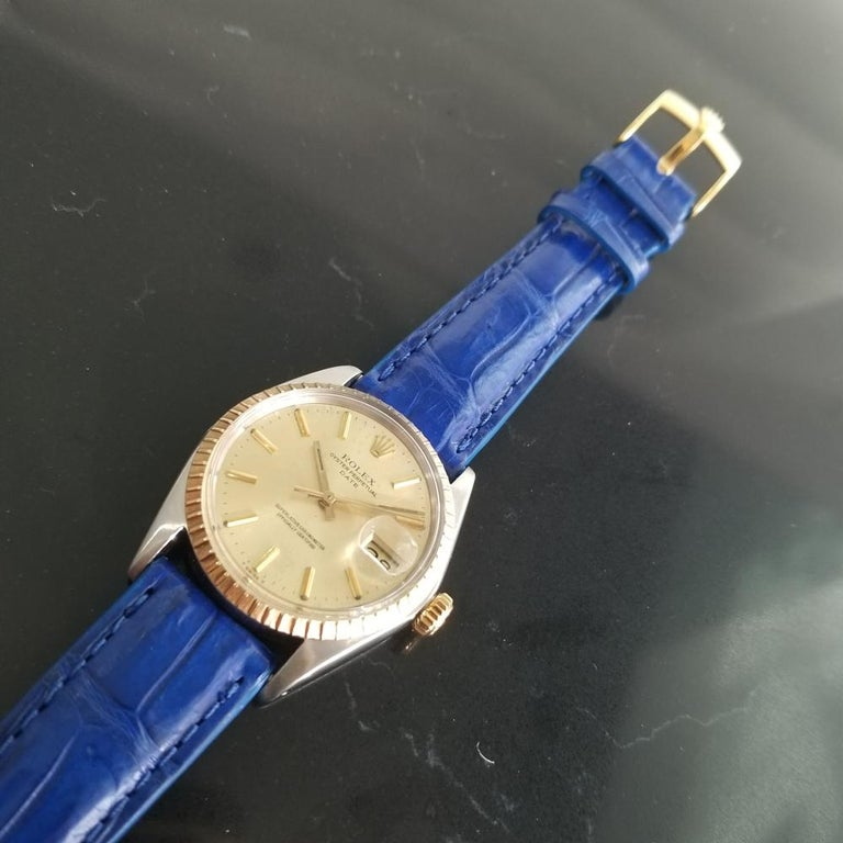 Mens Rolex Oyster Perpetual Date 1505 18K & SS Automatic, c.1970s RA136BLU For Sale 1