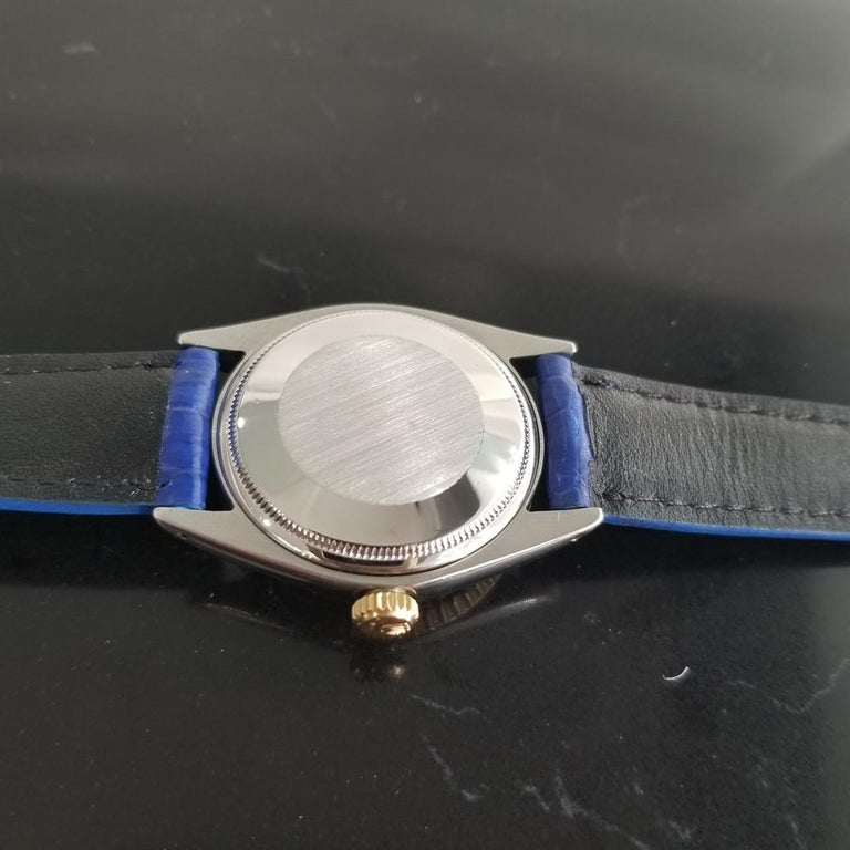 Mens Rolex Oyster Perpetual Date 1505 18K & SS Automatic, c.1970s RA136BLU For Sale 4