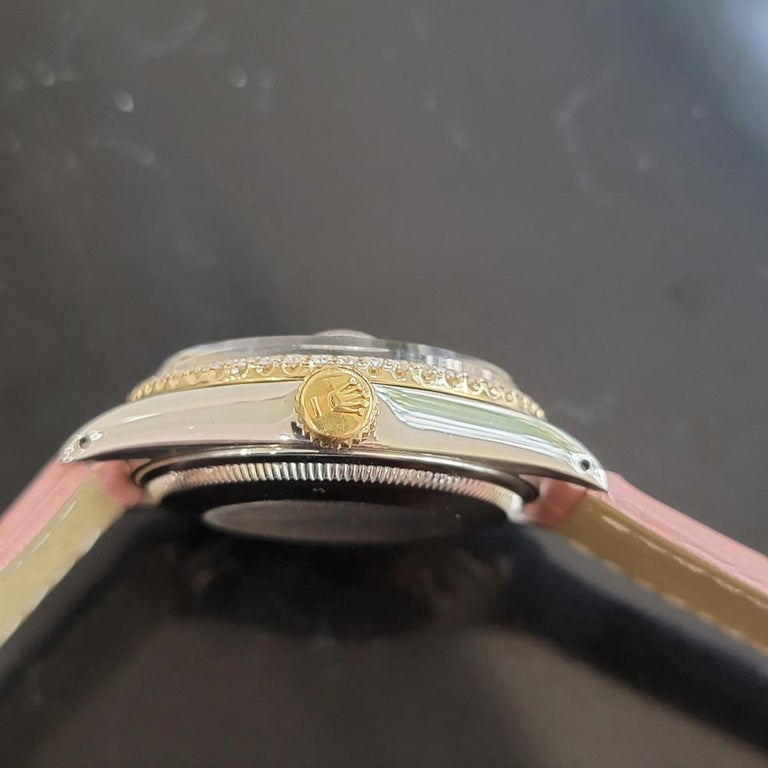 Mens Rolex Oyster Perpetual Date 1505 18K SS Diamond Automatic 1970s RA146D For Sale 4
