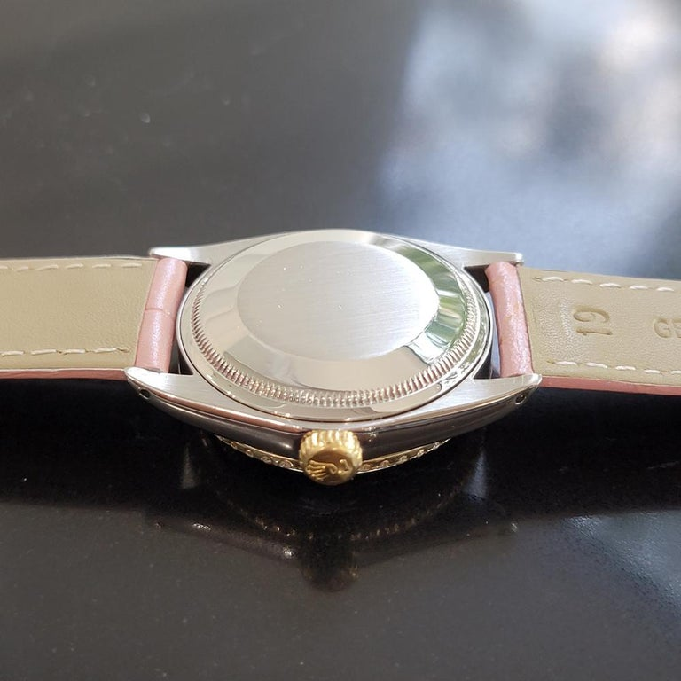 Mens Rolex Oyster Perpetual Date 1505 18K SS Diamond Automatic 1970s RA146D For Sale 5