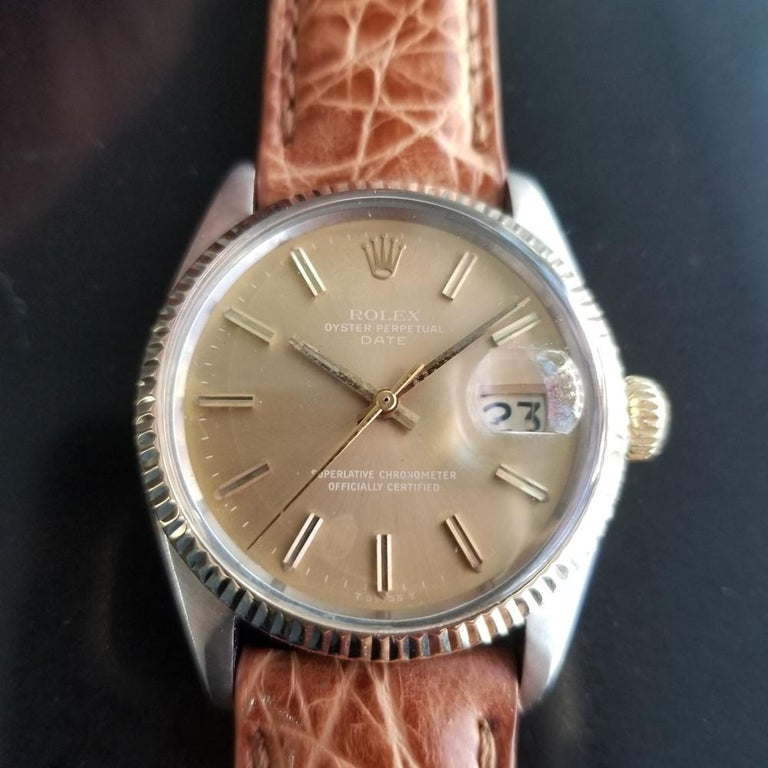 Iconic classic, Men's 14k gold & stainless steel Rolex Oyster Perpetual Date Ref.1505 automatic, c.1971. Verified authentic by a master watchmaker. Gorgeous original, unrestored Rolex-signed gilt dial, applied indice hour markers, lumed minute and
