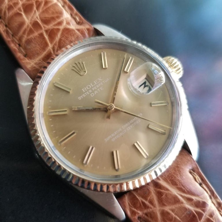 Mens Rolex Oyster Perpetual Date 1505 Automatic, c.1970s Vintage RA146TAN In Excellent Condition In Beverly Hills, CA