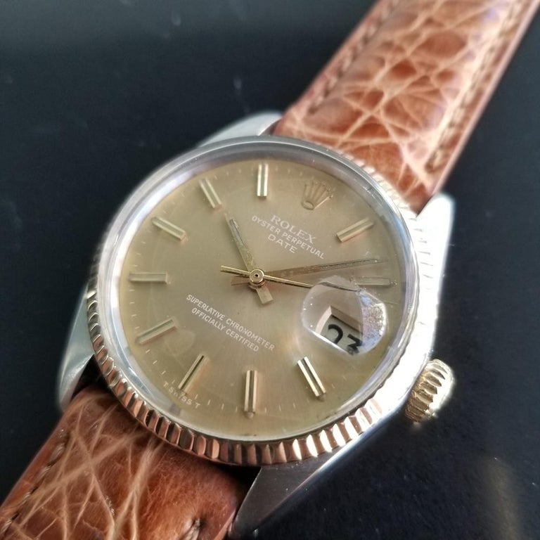 Men's Mens Rolex Oyster Perpetual Date 1505 Automatic, c.1970s Vintage RA146TAN