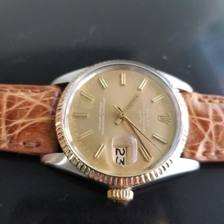 Mens Rolex Oyster Perpetual Date 1505 Automatic, c.1970s Vintage RA146TAN 1