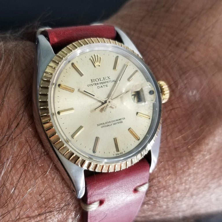 Men's Rolex Oyster Perpetual Date Ref.1505 18k & SS Automatic, c.1970s RA136 For Sale 8