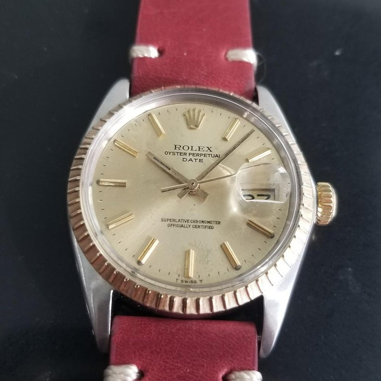 Timeless icon, Men's 18k gold & stainless steel Rolex Oyster Perpetual Date Ref.1505 automatic, c.1970. Verified authentic by a master watchmaker. Gorgeous original, unrestored Rolex-signed gilt dial, applied indice hour markers, lumed minute and