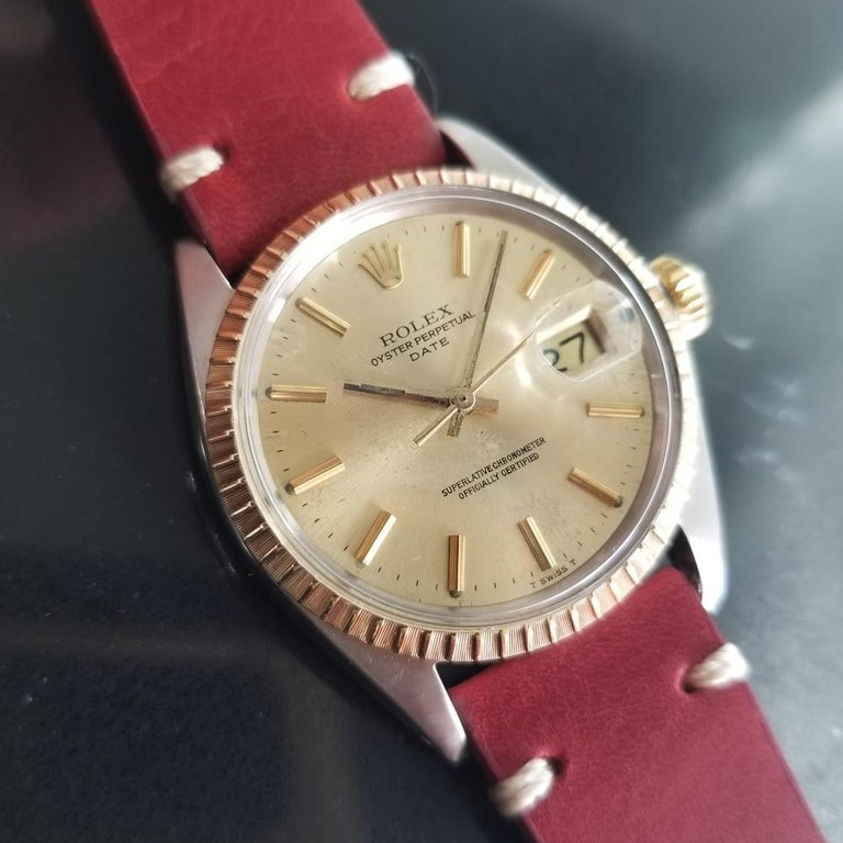 Men's Rolex Oyster Perpetual Date Ref.1505 18k & SS Automatic, c.1970s RA136 In Excellent Condition For Sale In Beverly Hills, CA