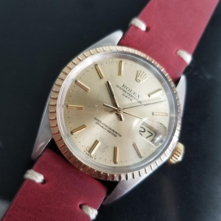 Men's Rolex Oyster Perpetual Date Ref.1505 18k & SS Automatic, c.1970s RA136 For Sale 1