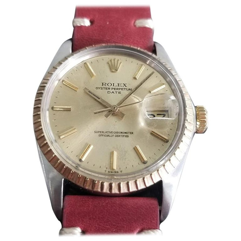 Men's Rolex Oyster Perpetual Date Ref.1505 18k & SS Automatic, c.1970s RA136 For Sale