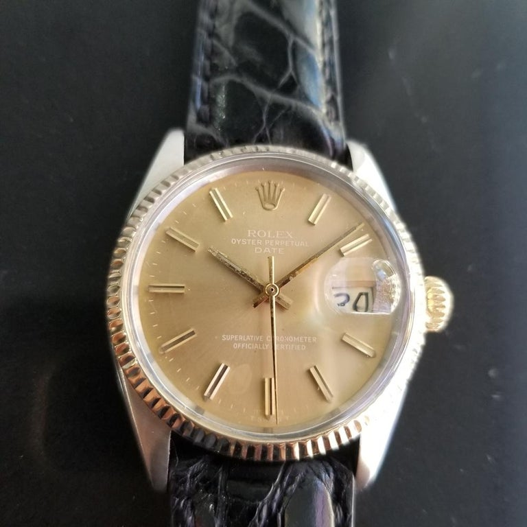 Timeless icon, Men's 14k gold & stainless steel Rolex Oyster Perpetual Date Ref.1505 automatic, c.1971. Verified authentic by a master watchmaker. Gorgeous original, unrestored Rolex-signed gilt dial, applied indice hour markers, lumed minute and