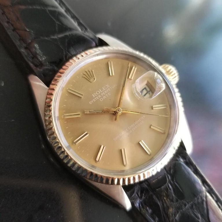 Mens Rolex Oyster Perpetual Date Ref.1505 Automatic, c.1970s Swiss RA146 In Excellent Condition In Beverly Hills, CA