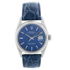 Men's Rolex Stainless Steel Datejust Watch 1601 Blue Dial