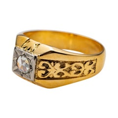 Men's Rose-Cut Diamond Ring Tudor Style, 1940s, European