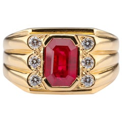 """Men's Ruby and Diamond Ring GIA Certified as """"Pigeon Blood Red"""""""