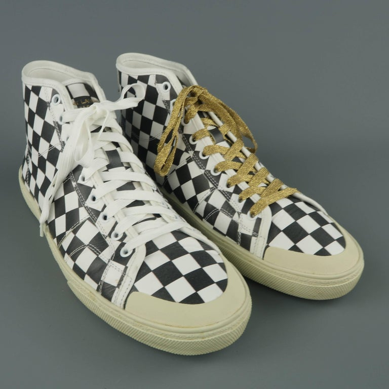 Black and SL37M Checkered Size White Men's 10 LAURENT SAINT Leather L3Aj45Rq