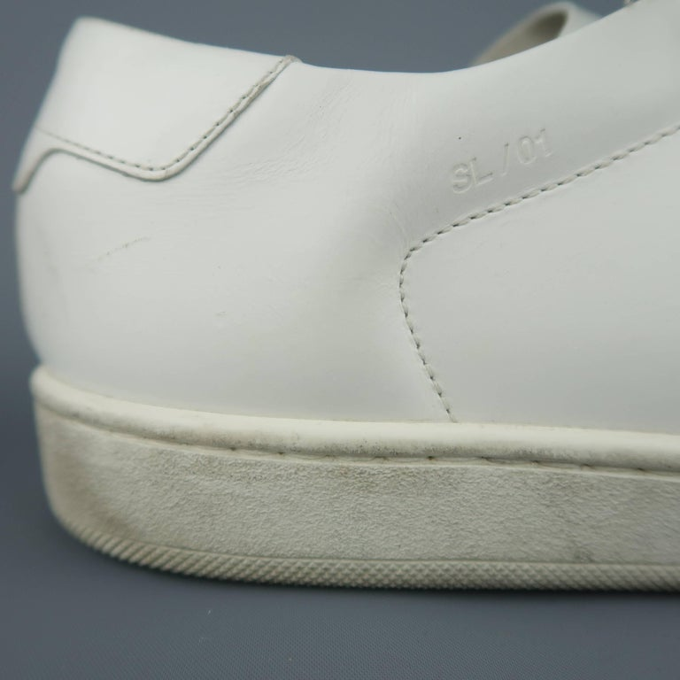 7f25ed68c22b3 Men's SAINT LAURENT Size 10 White Studded Leather SL/01 Low Top Sneakers In  Fair