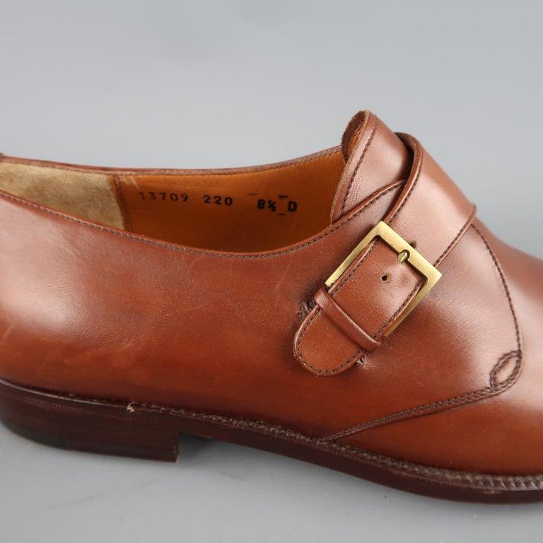 e597b9fa6848 Brown Men s SALVATORE FERRAGAMO Size 8.5 Tan Leather Monk Strap Loafers For  Sale