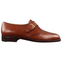 Men's SALVATORE FERRAGAMO Size 8.5 Tan Leather Monk Strap Loafers