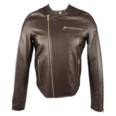 Men's SHIPLEY and HALMOS S Brown Leather Biker Jacket