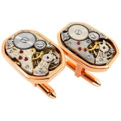 Men's Solid 18 Karat Gold Octagonal Cufflinks with Mechanical Watch Movements