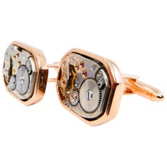 Men's Solid 18 Karat Rose Gold Octagonal Cufflinks Mechanical Watch Movements
