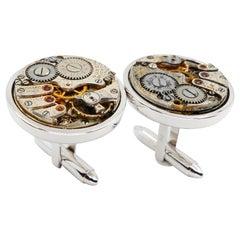 Men's Solid 18 Karat White Gold Round Cufflinks with Mechanical Watch Movements