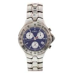 Men's Stainless Steel Ebel Sportwave Blue Chronograph E9251641