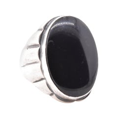 Men's Sterling Silver Cabochon Onyx Ring