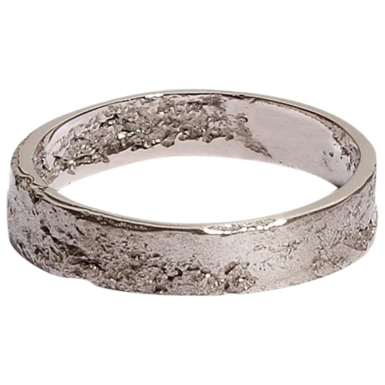Men's Textured White Gold Ring by Allison Bryan