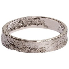Men's Textured White Gold Ring by Allison Bryan