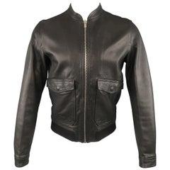 Men's THE KOOPLES M Black Leather Flap Pocket Motorcycle Jacket