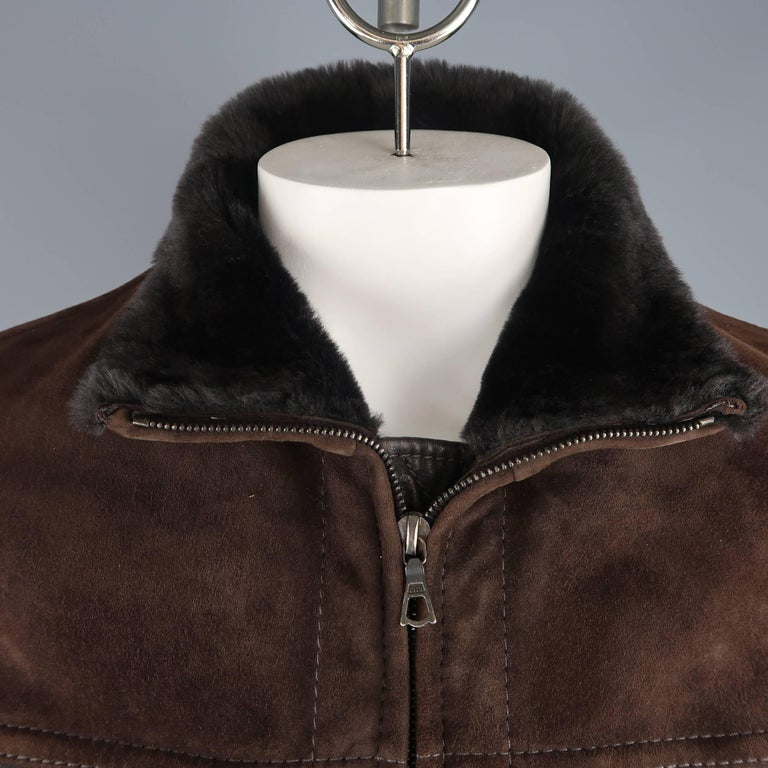 Theory Men S L Brown Suede Fur And Leather Shearling Zip Jacket At