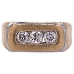 Men's Three Diamond 14 Karat Two-Tone Band Gents Wedding Ring
